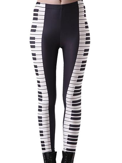YICHUN Women's Tight Stretch Leggings Long Pencil Pants Punk Trousers Piano