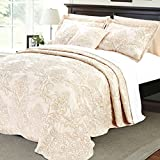 Home Soft Things Serenta Damask 4 Piece Bedspread Set, Queen, Salmon
