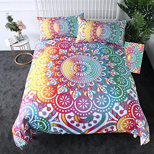 Sleepwish Colorful Girly Garden Mandala Duvet Cover King Size 3 Pieces Boho Bedding Set with 2 Pillow Shams from Sleepwish