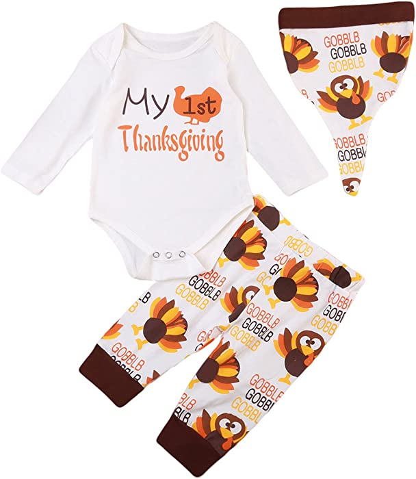 116ddd7c3bc9 Amazon.com: Baby Thanksgiving Outfit Newborn Boy Girl 1st Thanksgiving Long  Sleeve Romper+Turkey Pants Hat Onesie Clothes Set (0-3Month): Clothing
