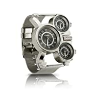Oct17 Men's Military Quartz Analog Wrist Watch Stainless-Steel Metal Mesh Clock Strap Durable Sub Dials Multi Time Zone Chronograph for Man Oversize Gunmetal