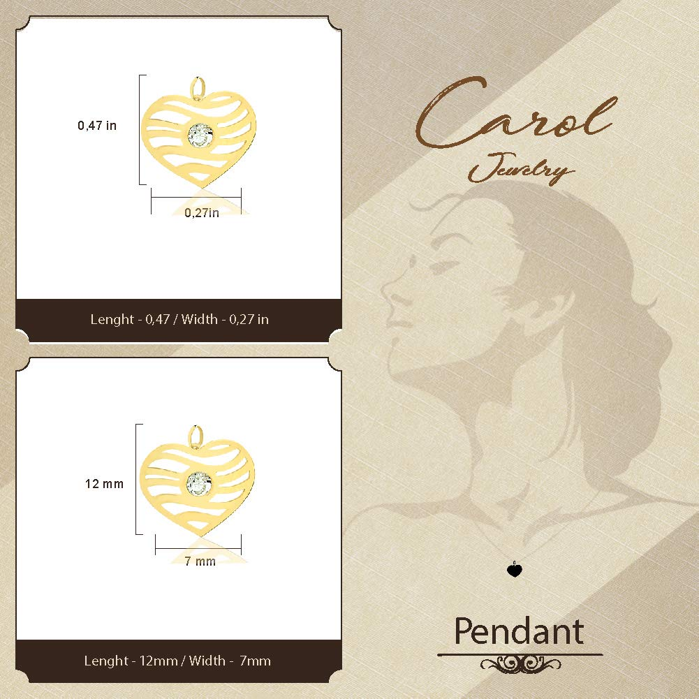 Children and Women Carol Jewelry 18k Solid Gold Synthetic White Cubic Zircon Heart Shaped Pendant for Necklace for Girls