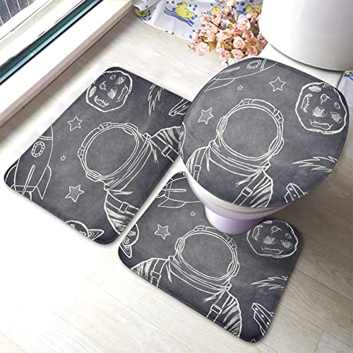 EKOBLA Astronaut Bathroom Mat Outer Space Sketch Chalk Helmet Rocket Blackboard Galaxy Planet Fly Durable Bathroom Rug Set 3 Pieces Anti-Skid Pads Toilet Seat Lid Cover Mat Polyester
