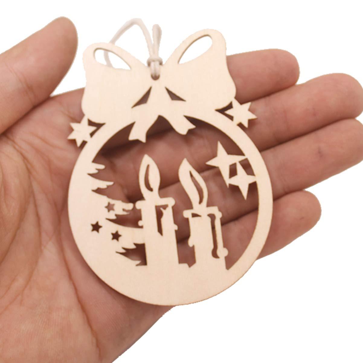 Amosfun 10 Pezzi Decorazioni Albero di Natale Legno Ciondolo Pendente Natale Etichette Tag Regalo Decorazioni Natale da Appendere Addobbi Natalizie