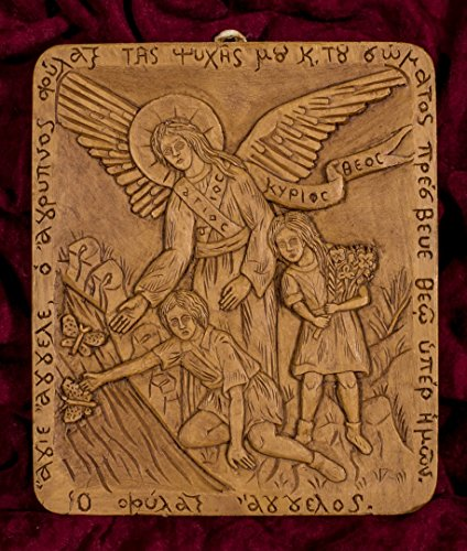 Guardian Angel of Children Hand-carved Aromatic Greek Russian Christian Orthodox Plaque Made with Pure Beeswax, Mastic and Incense From Mount Athos