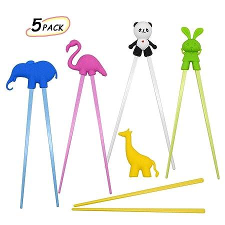 Bacchette per Bambini Design di Stile Animale Bacchette di apprendimento per Bambini Teens Principianti di Aiuto riutilizzabili Destro o Sinistro whatUneed Bacchette di addestramento per Bambini