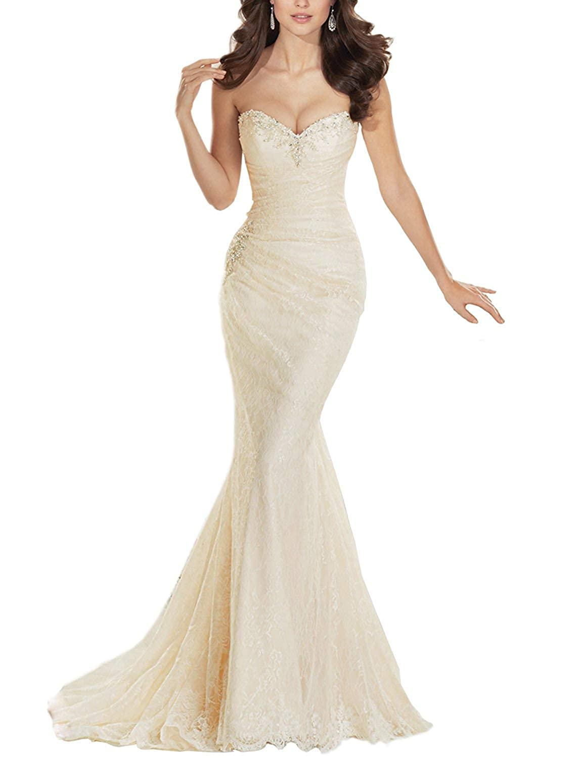 Champagne XKYU Women's Lace Strapless Long Bridal Wedding Dress Mermaid Beaded Bridal Gown