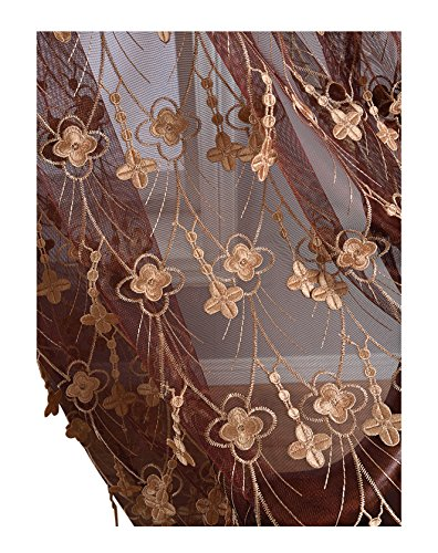 Aside Bside 4 Petals Floral Embroidered Sheer Curtains with Draping Embroidery Decorations Rod Pocket Top Brilliant Design (1 Panel, W 52 x L 104 inch, Red 6) -1281649521048506C1PGC by Aside Bside