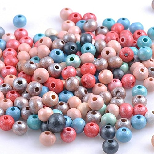 Metallic Multicolor Pastel Assorted Wood Beads For Jewelry Making, Rosaries (7mm x 8mm) (Wood Metallic Bead)