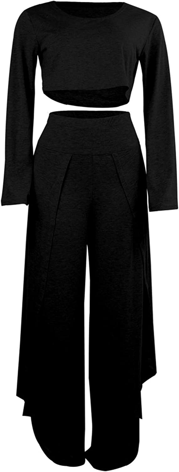 WSIRMET Womens Fashion One Shoulder Long Sleeve Open Leg Solid Color Two Pieces Casual Suit Jumpsuits