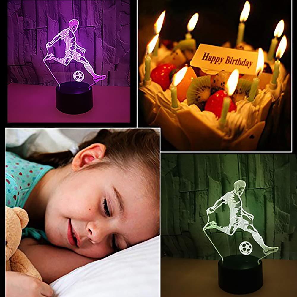 La Luz Luz Luz De La Noche del LED, Lámpara Colorida Visual 3D, Puede Ser Color Fijo O Gradiente del Siete-Color, 3W, 5V, Sr. Forma del Balompié, Interruptor del Tacto, Regalo Creativo para Los Niños a83da8