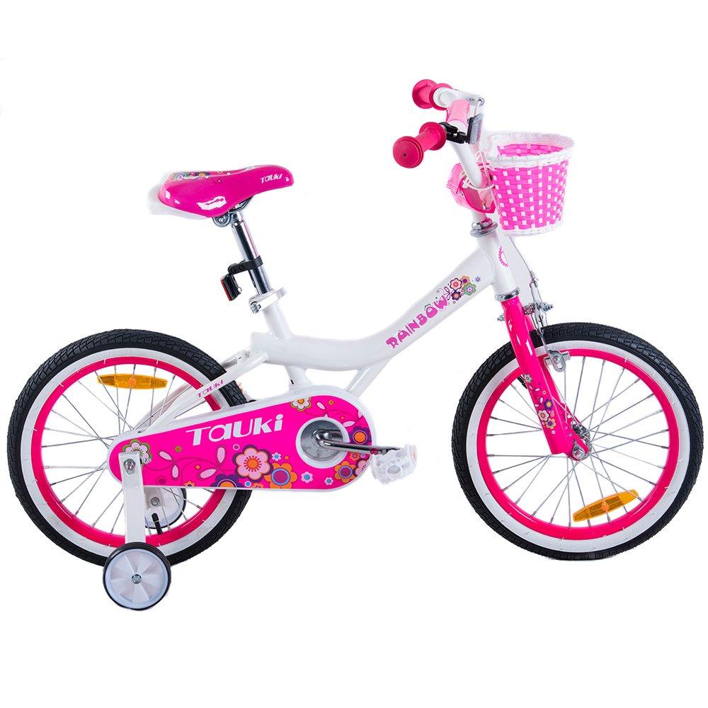 Tauki Girl 's Bike withトレーニングWheels andバスケット、ギフトのガールズ、12 – 16インチ、ホワイト/ピンク B073PRLM23ホワイト 16inch