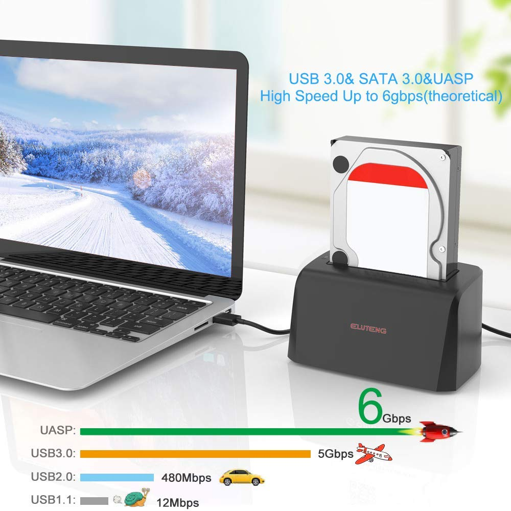 ELUTENG USB3.0 Hard Drive Docking Station for SATA3 2.5 and 3.5 inch SSD or HDD 5Gbps UASP Super Speed Max Support 8TB Hard Disk Drive Dock Plug and Play by ELUTENG (Image #3)