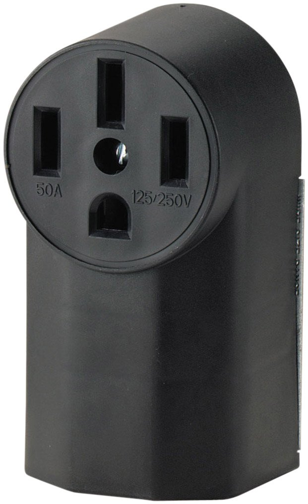 Eaton WD1212 50-Amp 3-Pole 4-Wire 125-Volt Surface Mount Range Power Receptacle, Black