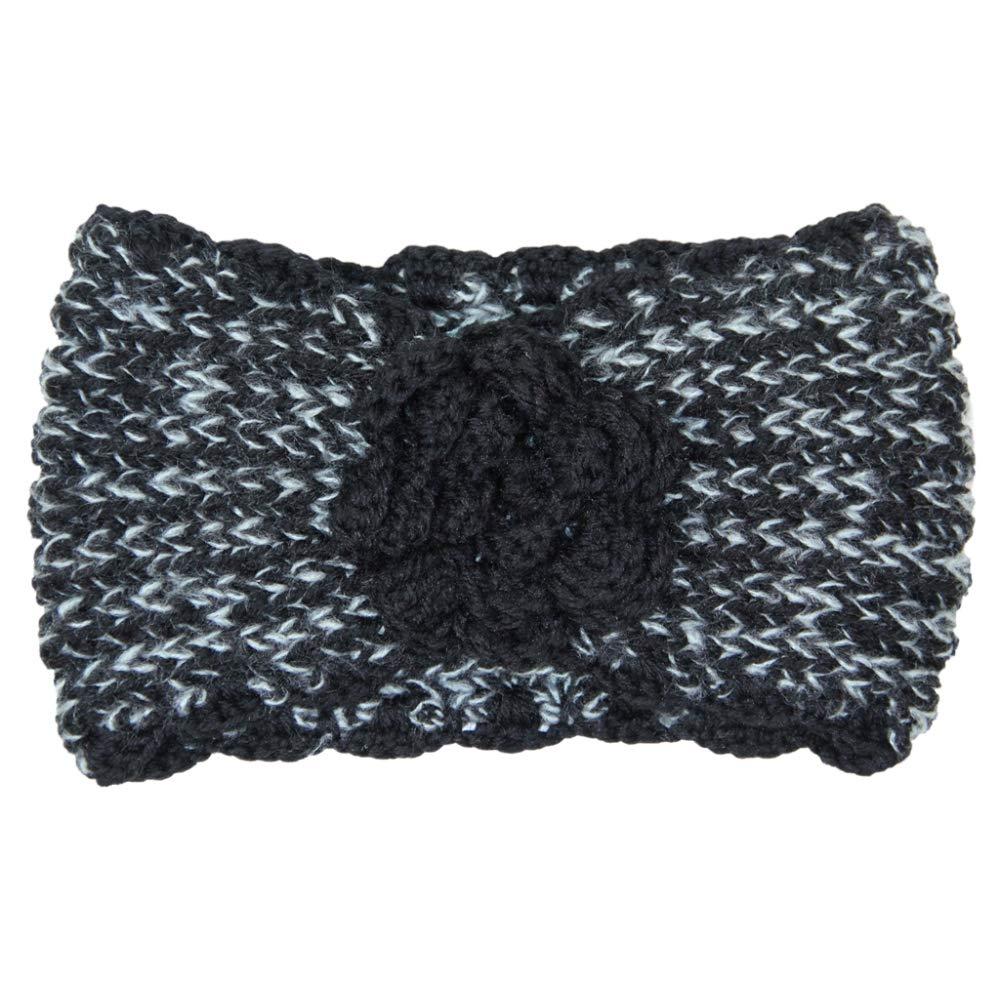 Me Plus Women's Winter Knitted Headband Ear Warmer Head Wrap (3 Styles Flower/Twisted/Checkered) (Flower-Black) by Me Plus
