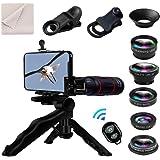 8 en 1 Kit de lentes de cámara para teléfonos Lente telefoto 18X, gran angular, macro, ojo de pez, lente CPL, trípode, obturador remoto para iPhone Samsung y la mayoría de los teléfonos inteligentes