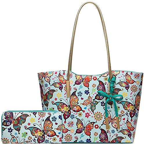Fashion Colorful Butterfly Flower Shopper Totes Bowknot Women Purse Handbag Shoulder Bag Wallet Set - Fashion Butterfly