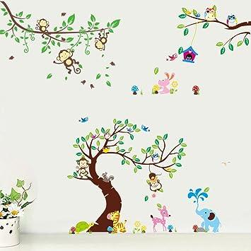 Rainbow Fox Wandtattoo Wandsticker Eule Baum Giraffe L We