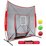 Powernet DLX 2.0 System | 7x7 Baseball Hitting Net + Weighted Training Ball 3 Pack + Strike Zone | Swing Harder | Throw Faster | Build Pitch & Hit Specific Muscle Groups | Enhance Pitching Accuracy