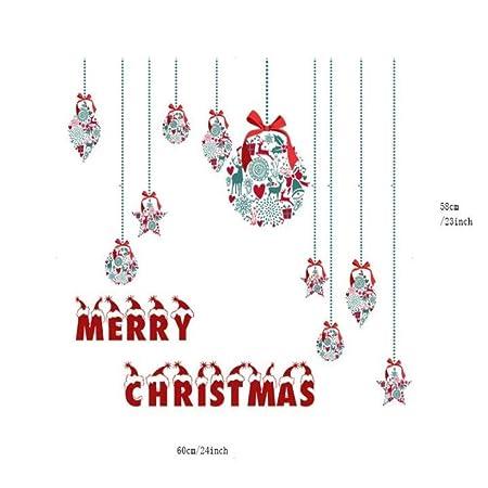 QWEASDZX Jardín de Infantes Decoración navideña Tiendas Tienda Decoración de Ventanas Pegatinas de Vidrio Tren de Papá Noel Pegatinas de Pared 60X58CM(2pc): Amazon.es: Hogar