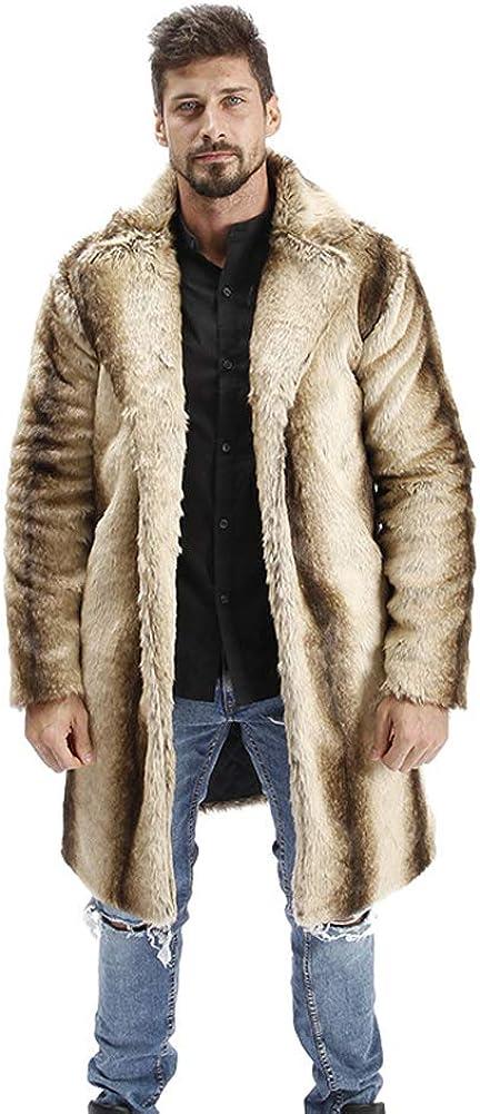 Abrigo de Pelo Hombre Chaqueta Invierno Cálido Chaqueta de Piel Sintética Abrigo de Piel Sintética Largas Abrigo Invierno