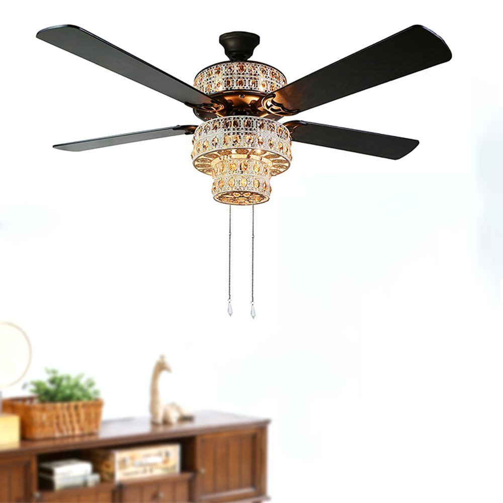 Andersonlight Fush Mount Ceiling Fan 5 Wooden Oil Rubbed Blades 2 LED Light Kit Luxury Shiny Style Black Finish Indoor 52 inch FS039 by Andersonlight (Image #2)