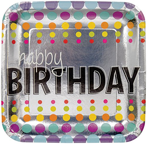 Creative Converting 8 Count Square Foil Birthday Pop! Dinner Plates, 9