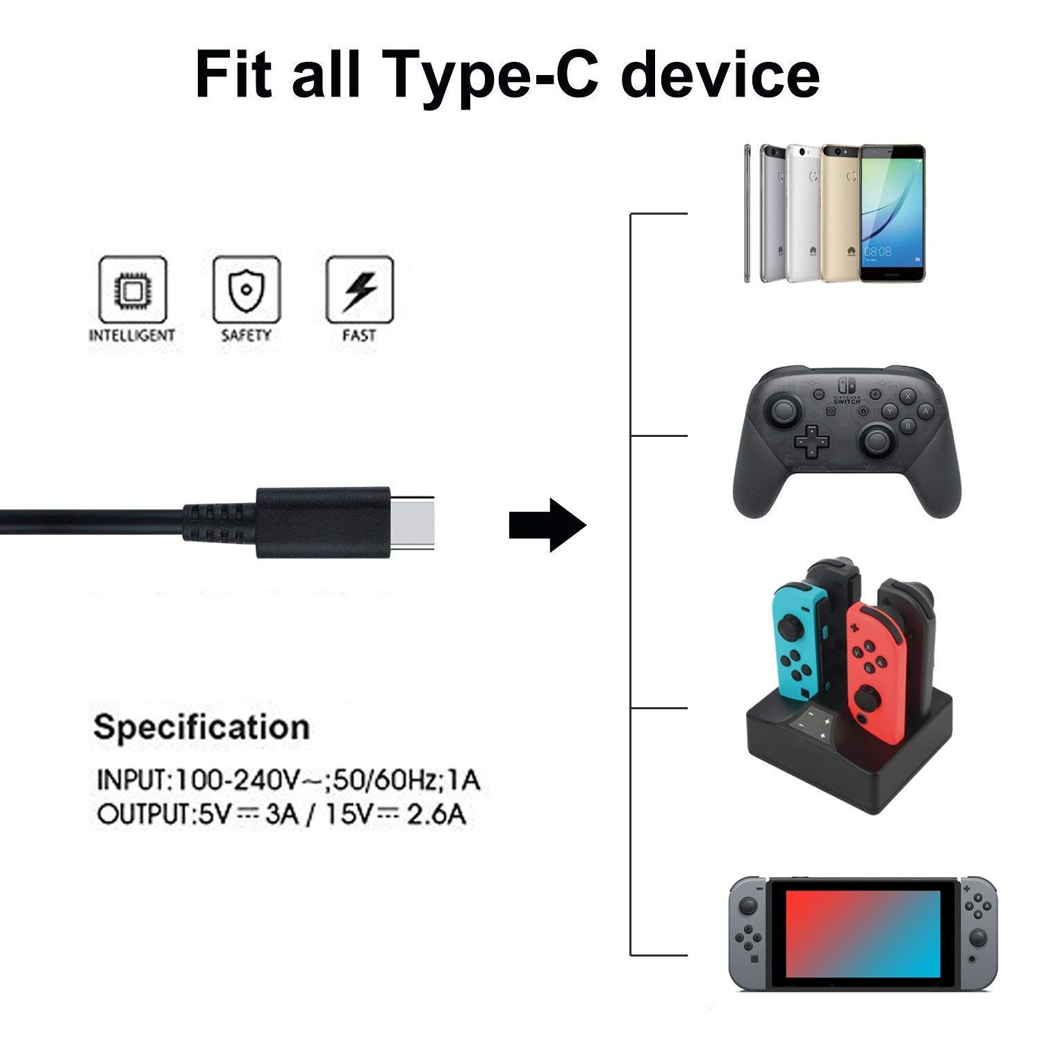Switch Charger for Nintendo Switch, AC Power Supply Adapter Compatible with Nintendo Switch, 15V/2.6A Support TV Mode, Fast Charger for Nintendo Switch by pdobq (Image #2)