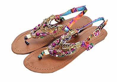 2f361d26a8911c Happy  Shopping Summer Low Heel Shoes Beaded Bohemian Sandals for Women ...