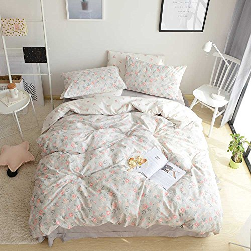 VM VOUGEMARKET Floral Printed Duvet Cover Set King,Premium Cotton Reversible AB Version Design,Bright Spring Bedding Set-King,Bloom Bloom Bedding