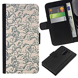 KLONGSHOP // Tirón de la caja Cartera de cuero con ranuras para tarjetas - Melocotón floral rosado pastel Patrón - LG G3 //