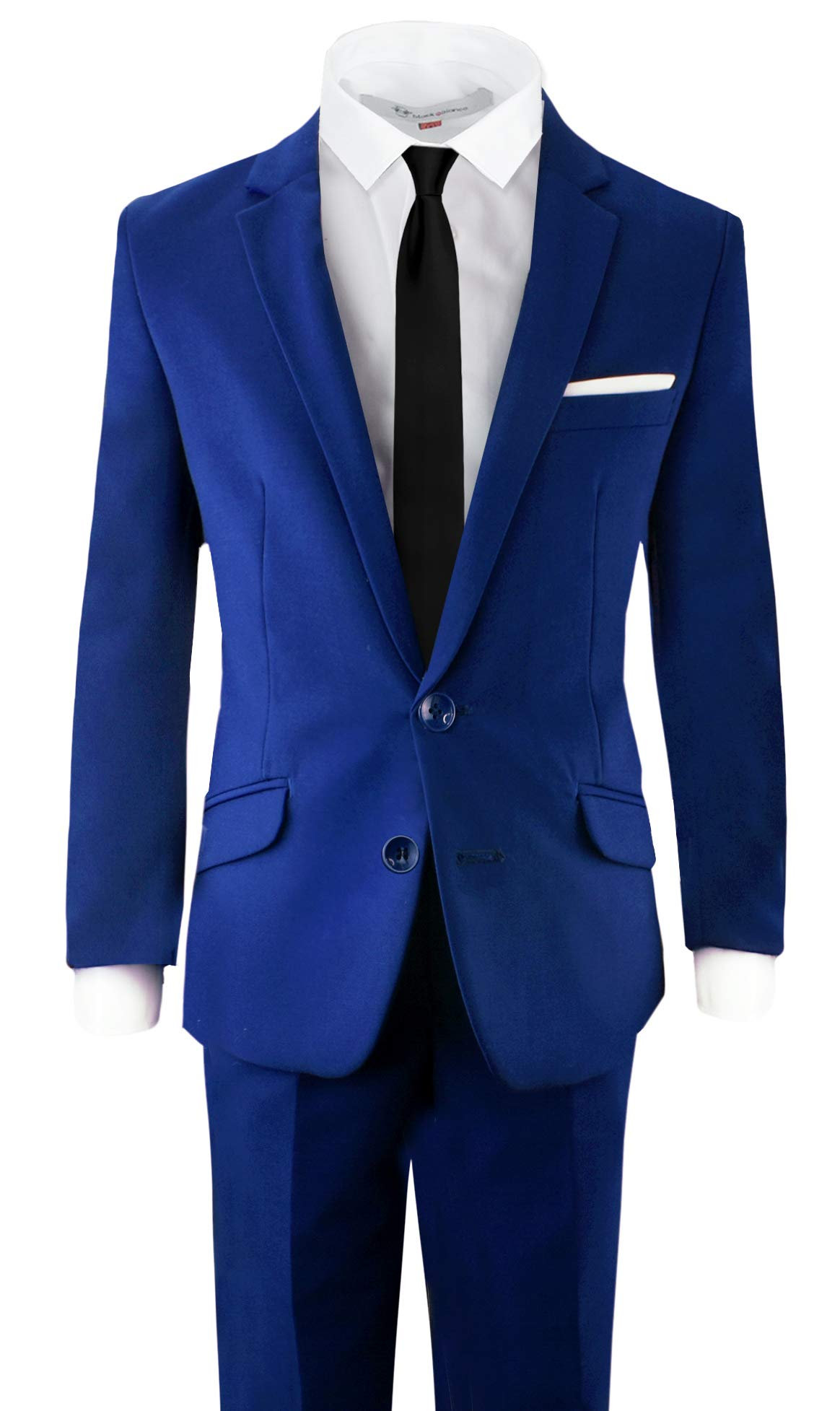 Black n Bianco Signature Boys' Slim Fit Suit Complete Outfit (7, Blue)