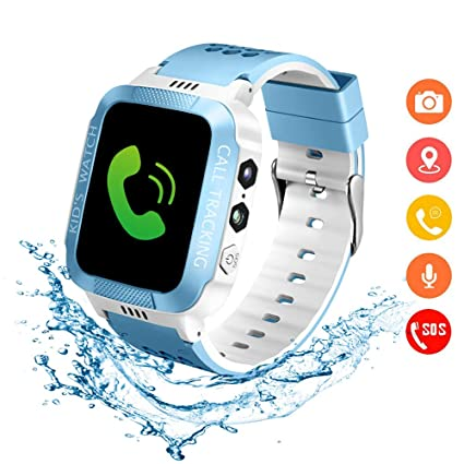 Kids Smartwatch with GPS Tracker IP67 Waterproof Smart Watch for Kids, Toddlers Phone Watch with Alarm Clocks (White and Blue)