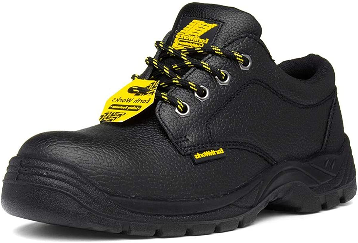 Earth Works Unisex Black Leather Safety Shoe Earth Works Safety Size 11 UK Black