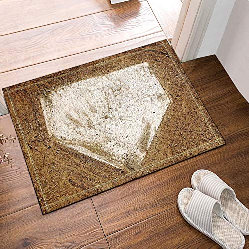 Sports Decor Home Plate Baseball Bath Rugs Non-Slip Floor Entryways Outdoor Indoor Front Door Mat, Inches Baseball Home Plate Size