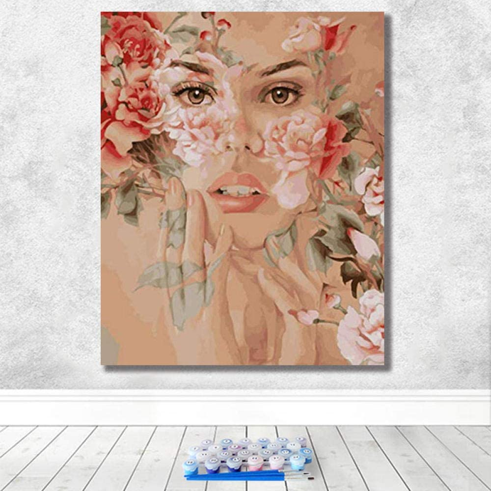 30X40Cm-Framed Louneu Paint By Number Kitdigital Oil Painting Diy Paint Oil Paint Beautiful Flowers Art Hand Painted Decompression Hanging