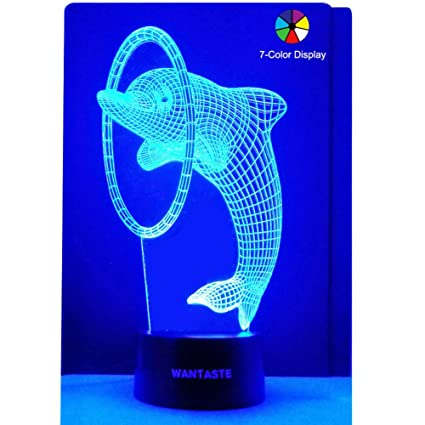 WANTASTE 3D Dolphin Lamp, Optical Illusion Night Light for Kids Room Decor & Nursery, Cool Birthday Gifts & 7 Color Changing Toys for Girls & Boys ...