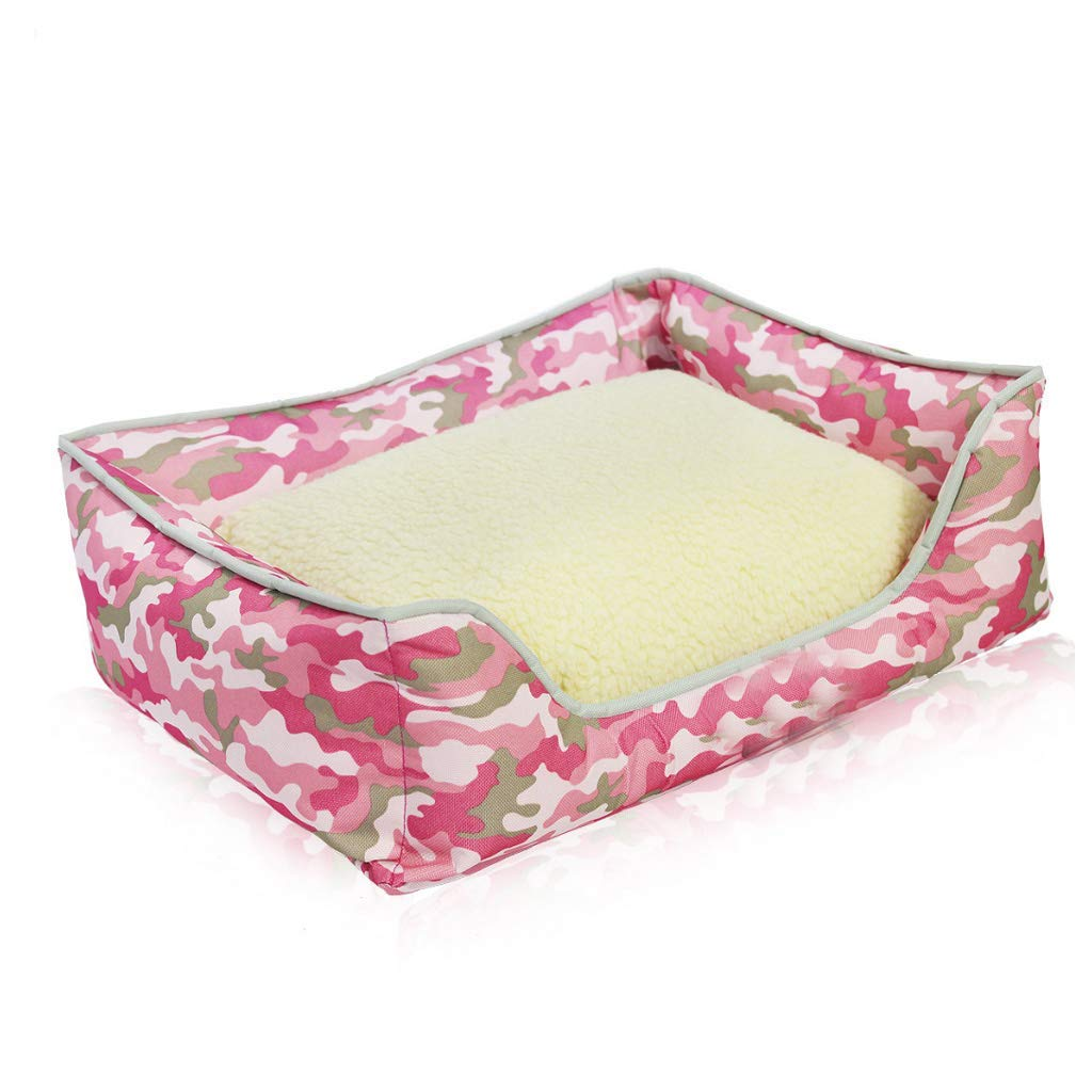 Kennel Pads Dog Beds Pet Bed Pink Camouflage Figure Pet Nest Four Seasons General Small and Medium Detachable Washable Velvet Dog Cat Litter Villa Warm Mat Cat Bed Pet Supplies Cover