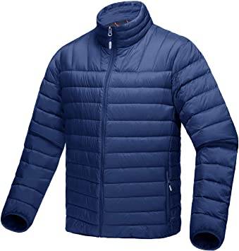 794fe629f8ecf9 TACVASEN Outdoorjacke Herren Wasserdicht Warme Jacke Leichte Outdoor  Daunenjacke Sport Pufferjacke Blau