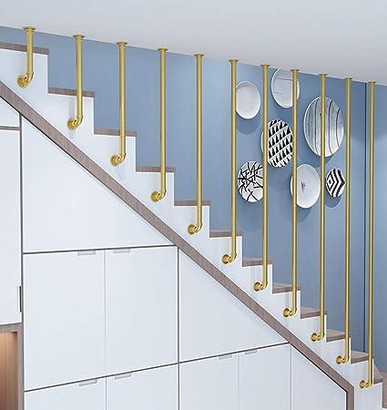 YUDE-L Barandilla de Escalera Redonda de Oro, barandilla Interior de Tubo galvanizado de Hierro Forjado (envíenos Datos de tamaño Exactos después de la Compra): Amazon.es: Hogar