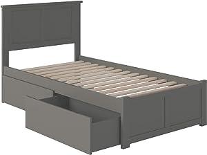 Atlantic Furniture Madison Platform 2 Urban Bed Drawers, Twin XL, Grey