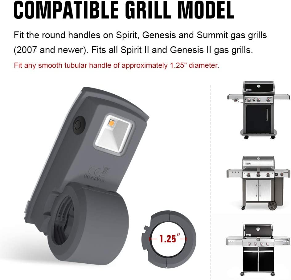 Fits Current Weber Spirit Grill Light 7661 LED Barbecue Handle Grill N Go Light Genesis and Summit Grills Gift Grey