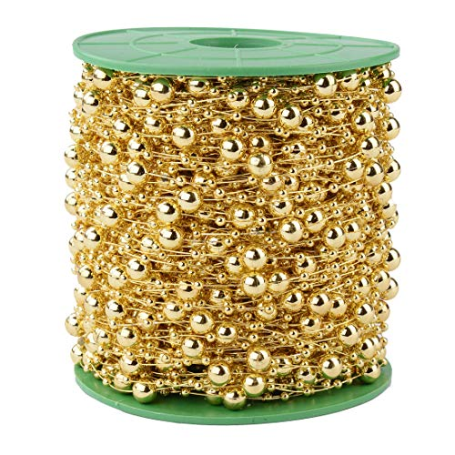 200FT 60M 8+3mm Fishing Line Artificial Pearls Beads String Roll,Pearl Beaded Trim Decoration for DIY Flower Tree Garland,Wedding Party,Bridal Bouquet,Christmas Gift and Hair Band (Gold Pearl)