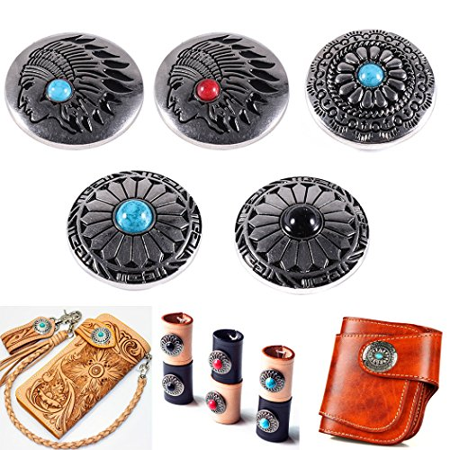 Concho Button 5Pcs Large Concho Button for Leather Screw Back Turquoise Beads Leathercraft Button Indian Head Concho Screw Back