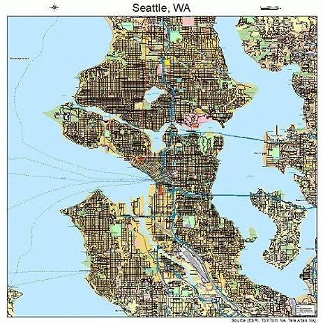 Amazoncom Large Street Road Map of Seattle Washington WA