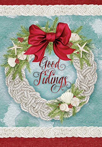 Good Tidings - Christmas Wreath - STANDARD Size, 28 Inch X 40 Inch, Decorative Double Sided Flag Printed in USA - Copyright and Licensed, Trademarked by Custom Décor Inc.