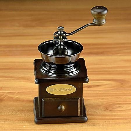 Fighrh Molinillo de café de madera de caucho italiano vintage con estilo creativo Molino de grano