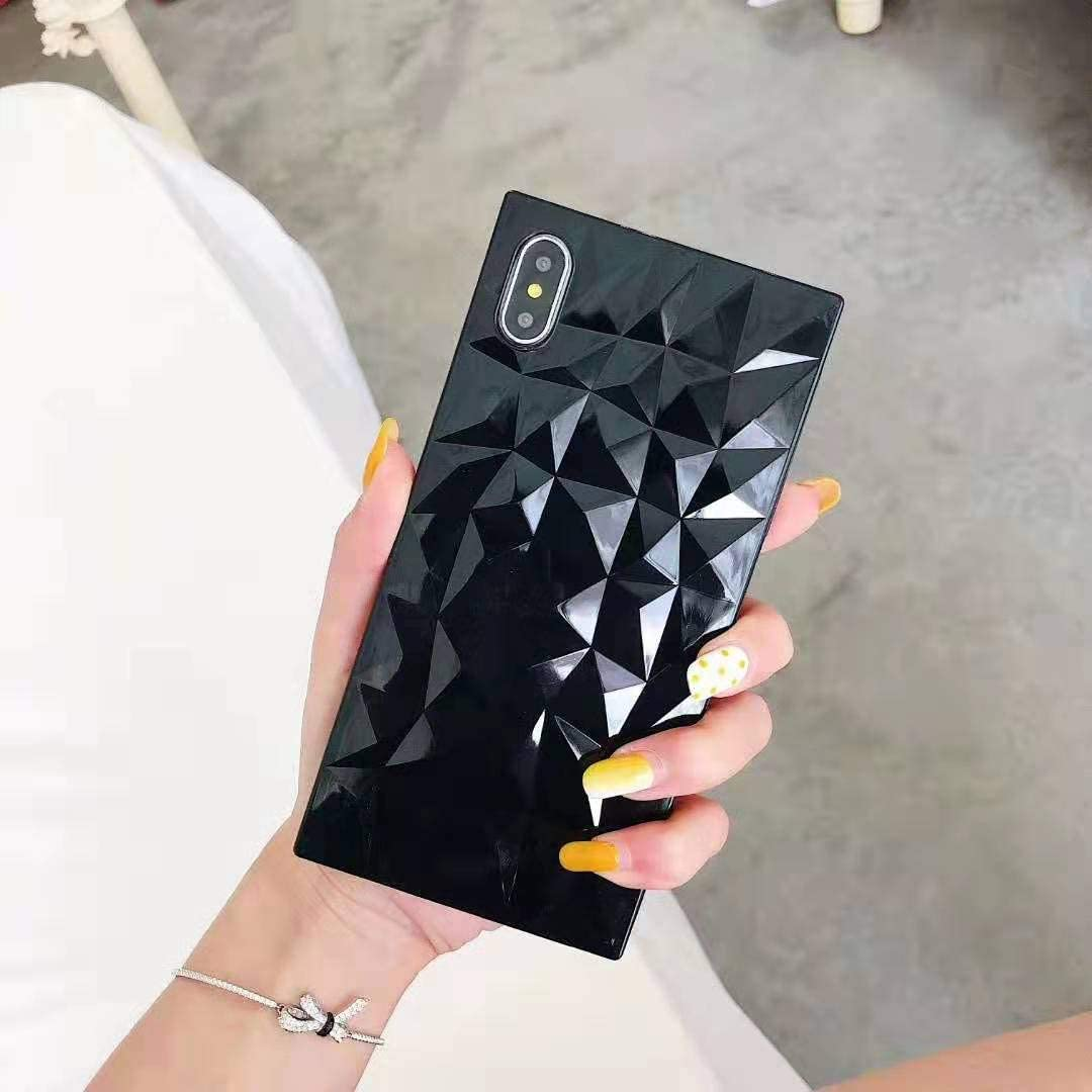 Hosgor Square iPhone Xs/X Case for Girls, Cute Candy Color Diamond Lattice,Flexible Silicone Four-Corner Reinforced Slim Fit Soft TPU Shockproof Cover for Apple iPhone Xs/X 5.8