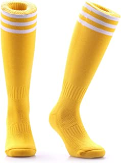 Samson Hosiery ® Jaune Football Chaussettes montantes à rayures Stripe Large Unisexe hockey Rugby Homme Femme
