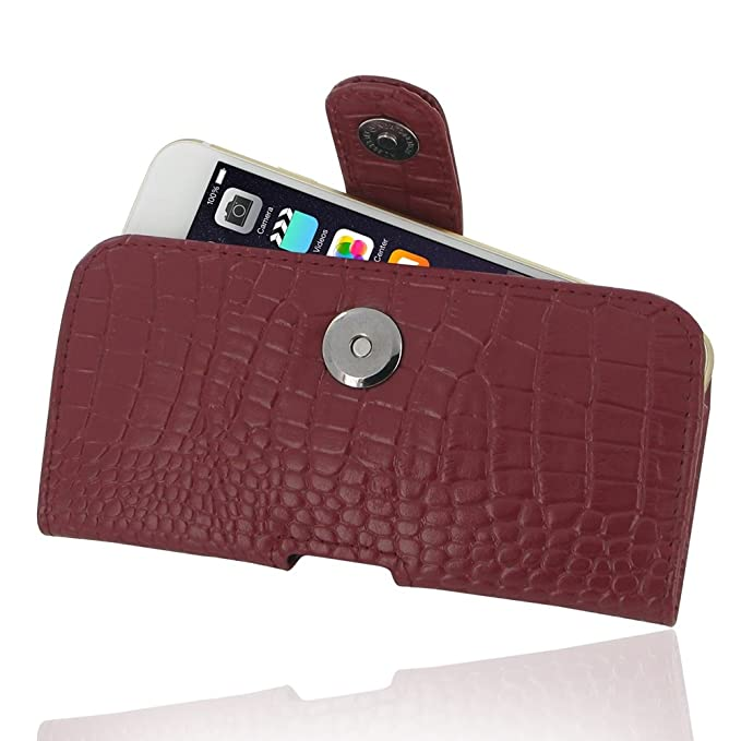 82006da7eed94 PDair iPhone 6 Genuine Cowhide Leather Case (Red Crocodile Pattern)